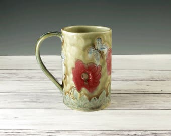 Poppies, Handmade Mug, Red Poppy, Unique Pottery Coffee  Mug, Ceramic Cup, Tea Cup, Butterflies, 16 ounces, Ready to Ship, 431