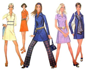 1960s Dress & Pants Pattern McCalls 2087 Mini Dress Long Sleeves Collar, Trousers Womens Sewing Pattern Size 10 UNCUT