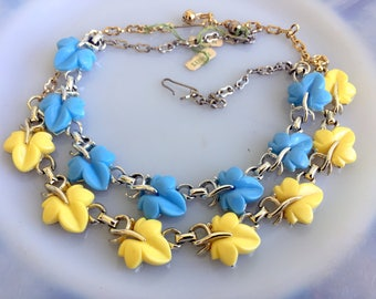 Vintage Lot Thermoset Plastic Leaf Necklaces Yellow and Blue original tags