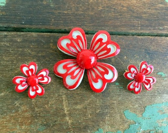 Metal Enamel Flower Brooch with Earrings Red and white Daisy