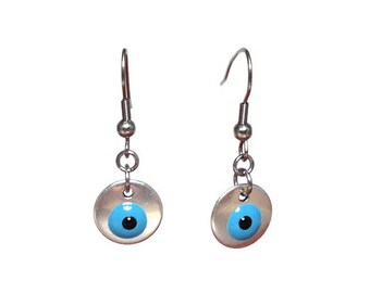 Evil eye disc earrings  - stainless steel french ear wire - Greek jewelry - protection - Good luck - ethnic jewelry - disc jewely