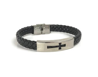 Cross leather bracelet - handmade jewelry -stainless steel  Stainless - Greek jewelry - Gift for men