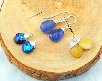 Interchangeable Earrings Set,Set of Three Gemstones,Ble Tanzanite,Dendretic Opal, Mystic Garnet,Sterling Silver,Set of Three Earrings