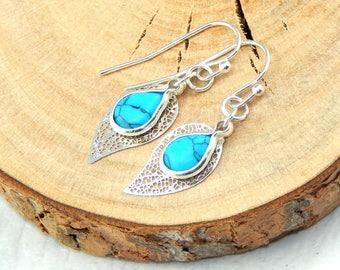 Leaf Earrings, Turquoise Earrings, Silver Earrings, Turquoise Jewelry, Gemstone Jewelry, December Birthstone