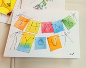 """Tiny Thank You Note Watercolor Original """"Little Card"""" 31/2"""" x 47/8"""" Watercolor Card and Envelope Inside etrueoriginals"""