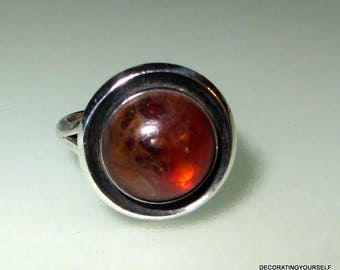 Denmark NE From Honey Amber Sterling Silver Modernist Ring Size 6 1/2 Designer Signed