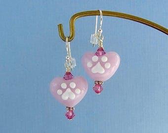 Dog Paw Earrings - Pink Hearts - Lampwork Glass Creation SRA