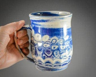 Wheel Thrown and Carved Blue and White Marbled Clay Mug