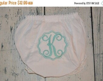 ON SALE Personalized Baby BLOOMERS Diaper Cover  with Initial Girls Monogrammed Baby Bloomers