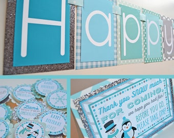 Winter Onederland Birthday Party Decorations | Penguin Birthday Party | Snowman Birthday Party | Wonderland Party | Blue Silver Aqua