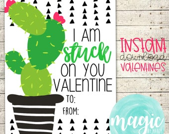 INSTANT DOWNLOAD Stuck on you cactus  Printable  Valentine for Valentines Day