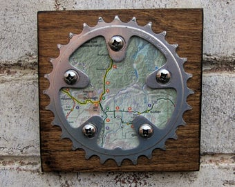 """5""""x5"""" Recycled Bicycle Chainring Durango Map Plaque"""