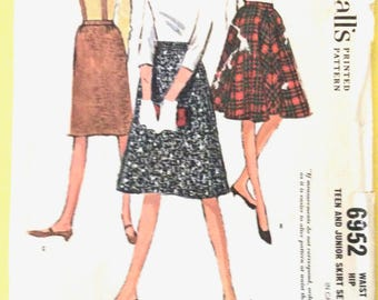 60s McCall's 6952 Skirt Two-Gored Flared Skirt, Slim Skirt, Suspender Straps Vintage Sewing Pattern  Waist 23.5 inches Hip 32.5