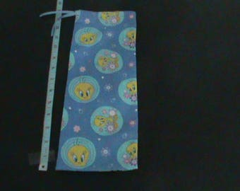 Tweety Bird On Blue With Pink and Blue Flowers Drawstring Pouch