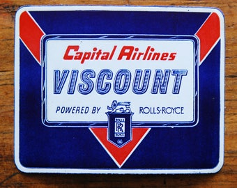 Vintage Capital Airlines Viscount Powered by Rolls Royce Travel Decal Gummed Sticker