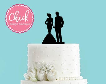Couple Holding Hands, Bride in Mermaid Dress Acrylic Wedding Cake Topper