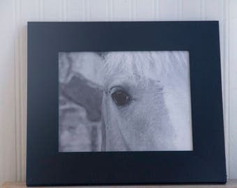 Framed Horse Photo, Black White Horse Art Print, Abstract Animal Equine