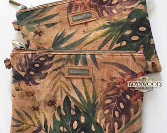 Brynwood Needleworks Orchid Print Cork Grab and Go Crossbody Clutch, Cork Crossbody Clutch, Cork Zipper Crossbody, Cork Crossbody
