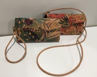Vintage Hibiscus Cork Bryn Crossbody Clutch Wallet, Brynwood Bryn Wallet, Cork Fabric Wallet, Cross Body Wallet