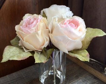 3 Roses Vase Artificial Faux Water Prop Home Staging Decor