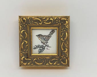 Miniature Watercolor Painting, Bird, Vintage, Gold Frame, Under Glass, Signed