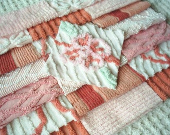 Vintage Chenille Bedspread Squares - Pretty Pinks, Blush and Coral-21-6""