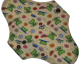 Moderate Core- Frog Flannel Reusable Cloth Maxi Pad- 10 Inches (25.5 cm)