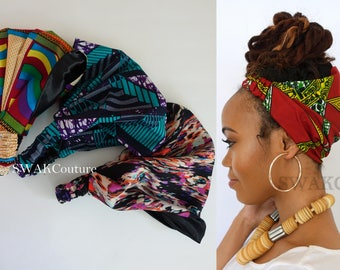 Satin Lined Wide Headband Wrap Ankara Head Wrap Pineapple Bun Wrap African Print Wrap - Choose Your Color