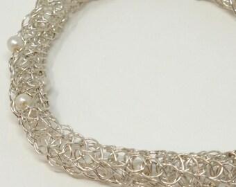 Fine Silver Crochet and Pearls Bracelet - B004
