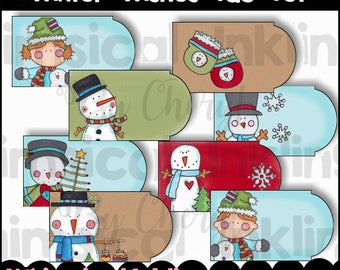 Winter Wishes Tags Clipart Collection- Immediate Download