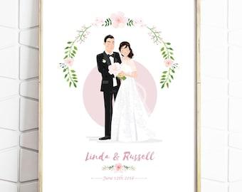 Custom Wedding Portrait - Personalised Couple Drawing - Illustrated Wedding Gift - Bride & Groom - Print or Digital File