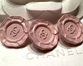 New! Lot of 3 Rare Chanel Light Pink Camellia Metal Buttons, 20 mm