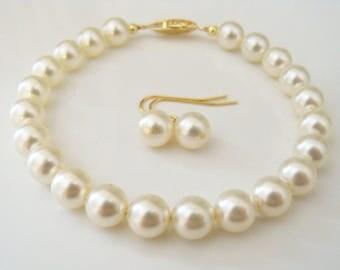 Set of 3 Pearl bracelet bridal Swarovski Cream pearl bracelet and earring set 8mm round pearls bridesmaids gift