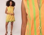 Mod Dress 70s Mini Striped Front Zip Gogo Green Orange Vintage Hippie Boho Shift Twiggy 1970s Sleeveless Minidress Bohemian Small Medium