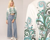Boho Crop Top Psychedelic Shirt 70s Blouse Mod Hippie Blouse Boho Shirt SWIRL Long Sleeve 1970s White Blue Green Festival Top Small Medium