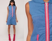 60s Mod Mini Dress 1960s Scooter Dress Sleeveless Shift Vintage Blue FRONT ZIP Up Plain Sixties Minidress Space Age Gogo Small