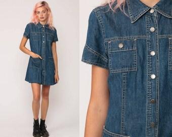 Jean Dress 90s TOMMY HILFIGER Denim Mini Dress Grunge Vintage 1990s Button Up Blue Short Sleeve Collar Normcore Retro Medium