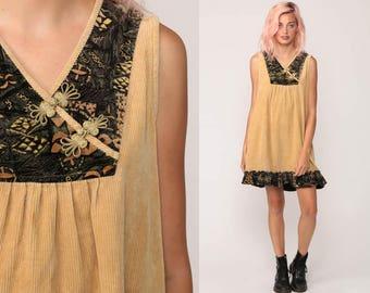 Corduroy Dress Boho Mini Dress 70s Babydoll Tent Hippie 1970s Vintage Sleeveless Pleated V Neck Asian Frog Closure Tan Small Medium Large