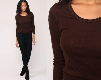Long Sleeve Shirt Brown Shirt Plain 80s T Shirt Grunge Top Hipster Retro Tee Vintage Tight Cotton Tshirt 1980s Normcore Basic small