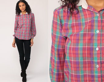 Plaid Shirt 80s Blouse Purple Red Button Down Top 1980s Vintage White Collar Women Hipster Rockabilly Long Sleeve Retro Medium