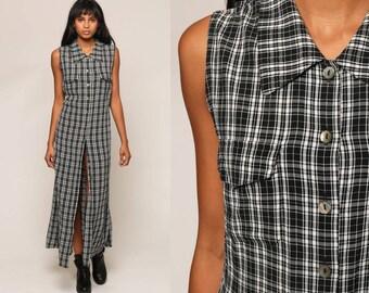 Plaid Dress 90s Maxi Dress PLAID Grunge Print Button Up Black White High Slit Checkered Preppy Column Vintage Sleeveless Medium