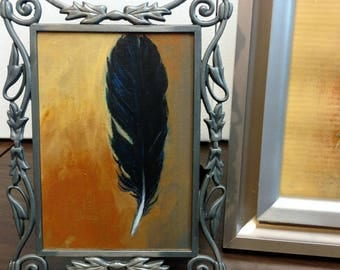 Raven Feather Painting (tail feather)