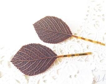 Copper Leaf Bobby Pin Set - Aspen Leaf Hair Pins - Birch Leaf Bobby Pin - Woodland Leaf Hair Pins - Wedding Hair Accessory - Bridal Hair