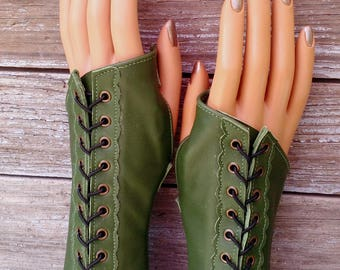 Long Olive Green Leather Steampunk Fingerless Gloves with Antiqued Brass Eyelets and Black Lacing