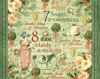 Graphic 45, Twelve Days of Christmas, Swans A Swimming, 8 x 8 Single Sheet, Retired