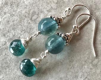 Blue Tourmaline Earrings, Blue Fluorite Earrings, Blue Dangle Earrings, Blue Stone Earrings, Sterling Silver Earrings, Blue Drop Earrings