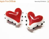 20% OFF LOOSE BEADS - Lampwork Glass Art Beads - Red, White, and Black Bumpy Hearts (2 beads) - gla926
