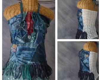 Denim Blues Halter Top Small, Medium Tie Dye Gypsy Boho Bohemian Tribal Sari Silk Fringe Jeans Print Festival Clothing Hippie Womens