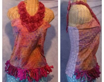 Batik Boho Halter Top Small, Medium Catching Waves Tie Dye Gypsy Pink Fuchsia Chiffon Sari Silk Fringe Festival Clothing Hippie Womens