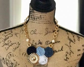 Blue and Navy Fabric Flower Statement Necklace with Vintage Brooch, Rolled Rosette Statement Necklace,Bridesmaid Gift, Bridal Party Gift